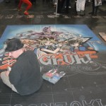 Yu-Gi-Oh chalk drawing at 2010 New York NY Comic Con