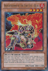Brotherhood of the Fire Fist Bear YuGioh Card Game
